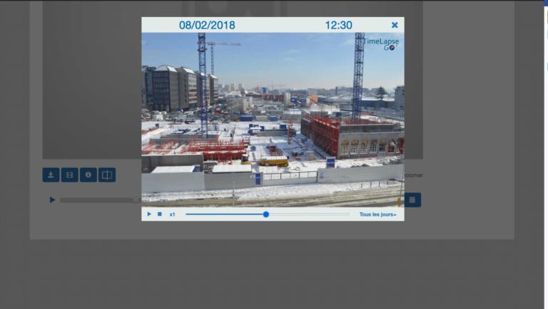 Capture d'écran de l'interface de suivi avec un chantier sous la neige